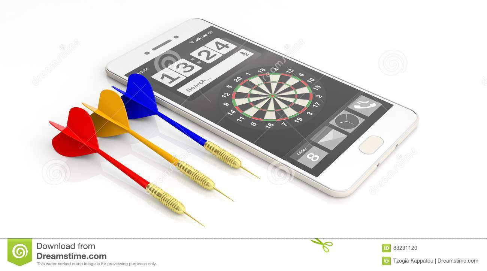 Dardos y smartphone de la representación 3d en el fondo blanco