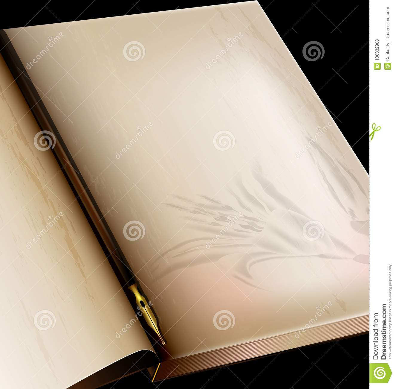 Download Vintage Page Of Book And Old Pen Stock Vector