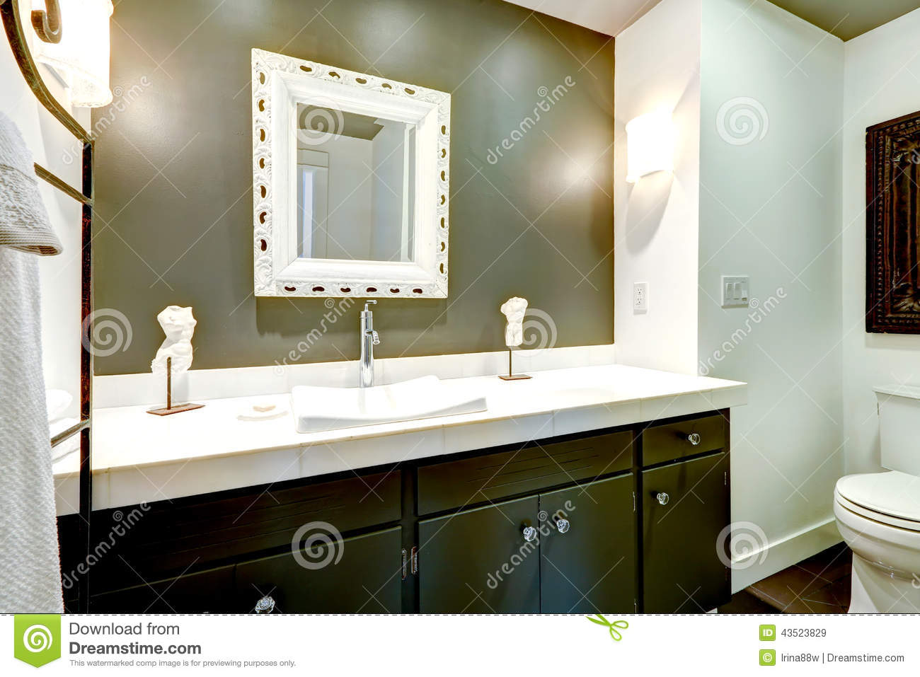 Dark Bathroom Vanity Cabinet With White Top Stock Photo