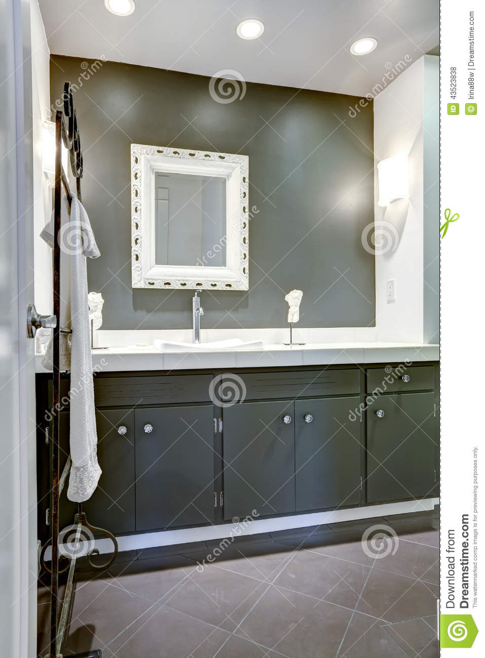 Dark Bathroom Vanity Dark Bathroom Vanity Cabinet With White Top Stock Photo Image
