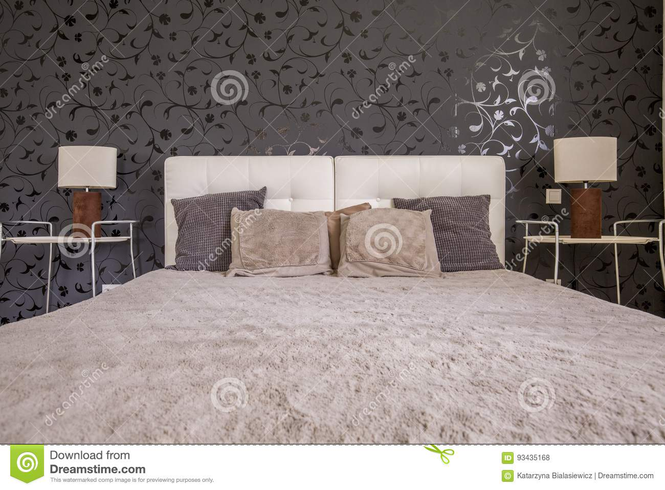 Dark Bedroom With Double Bed Stock Photo - Image of style, living ...
