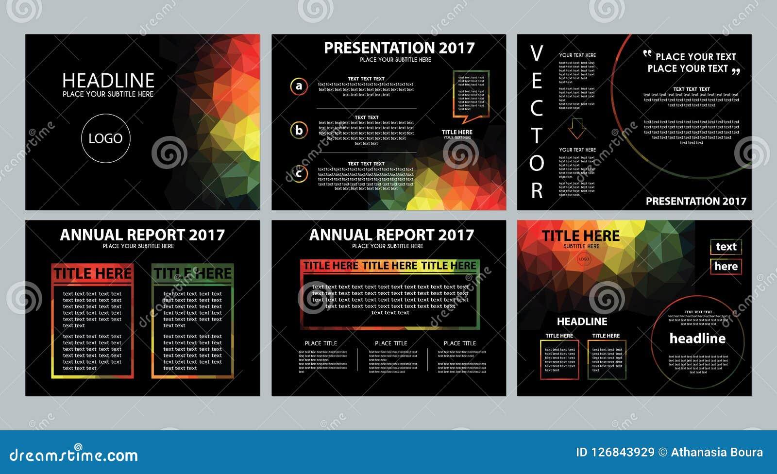 Dark Black Rainbow Polygonal Powerpoint Presentation Template Stock Vector Illustration Of Partner Rainbow 126843929