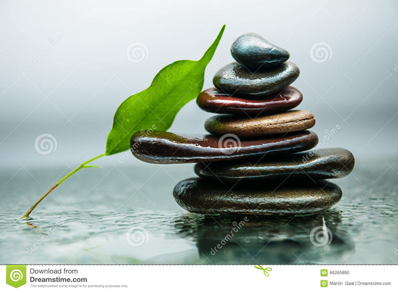 Dark or black rocks on water, background for spa, relax or wellness therapy