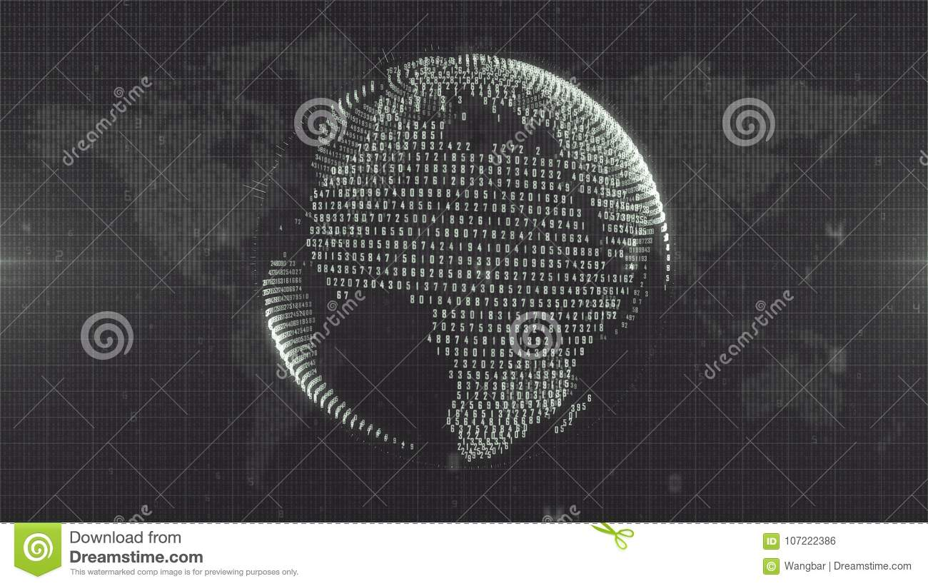 Dark black and white Earth - globe formed from data on Earth map background