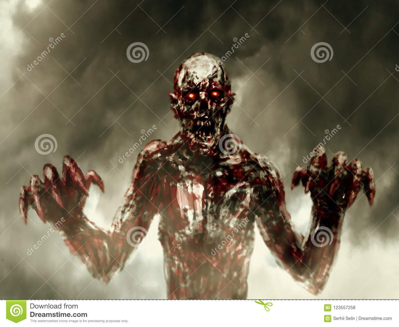 Dark bloody zombie stretches out his hands