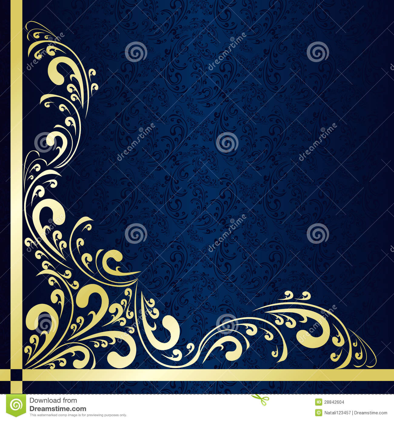 dark blue background decorated a gold border stock vector