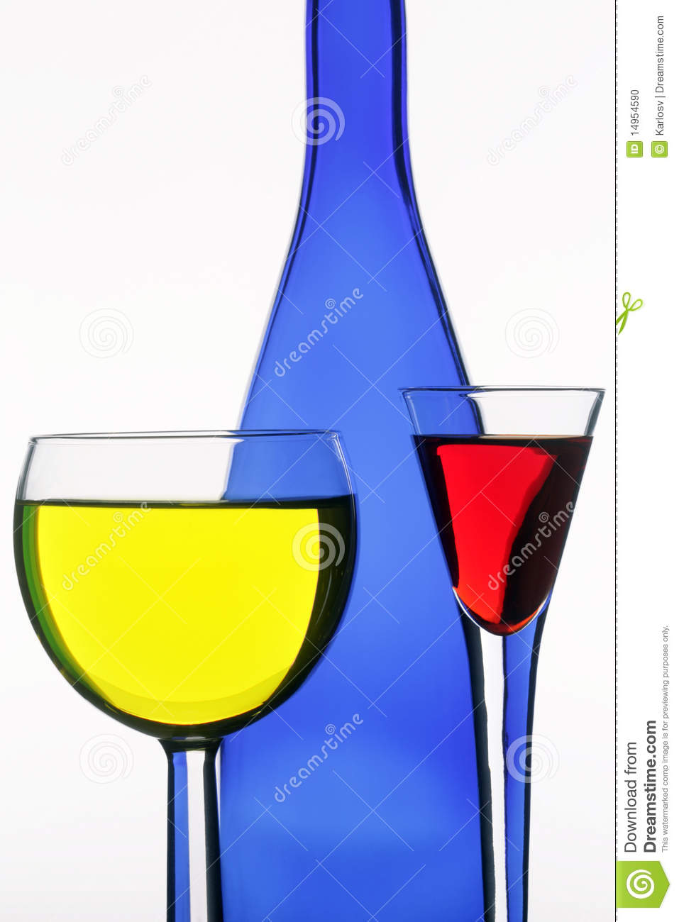 Dark blue bottle and two wine-glasses