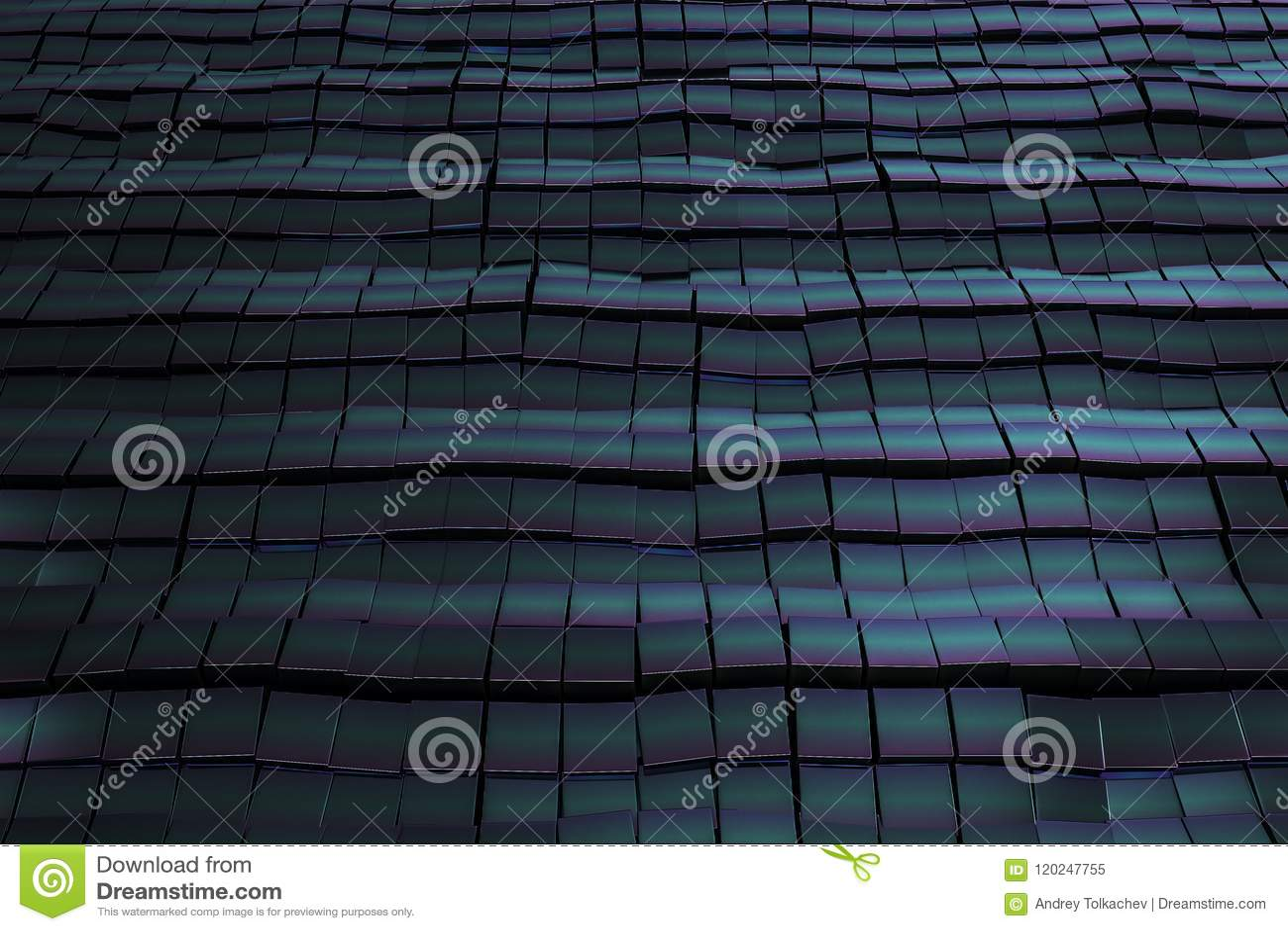 Dark blue and cian metal squares