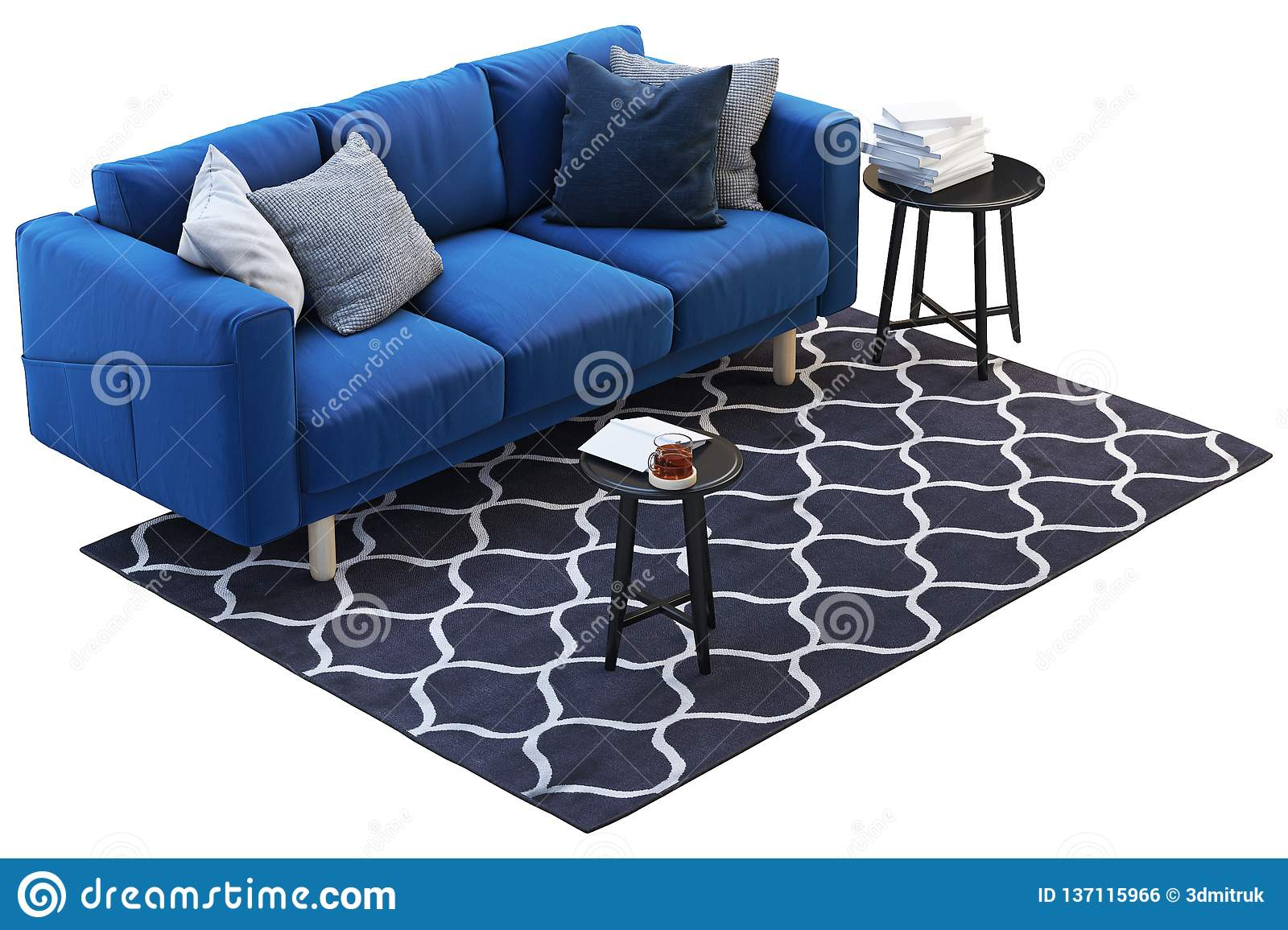 Dark Blue Fabric Sofa With Rug And Round Coffee Tables 3d