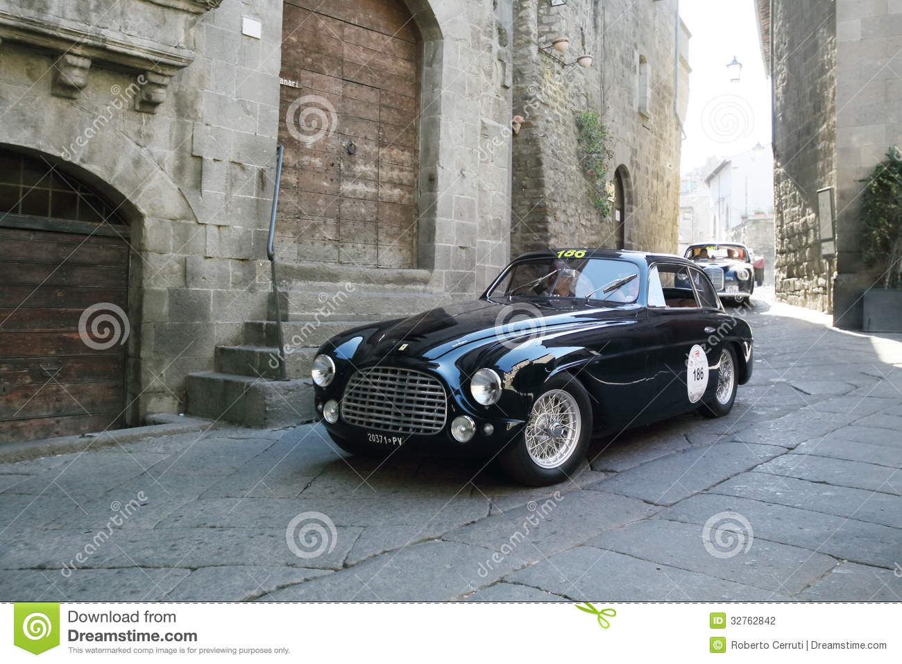 Dark blue Ferrari 166 Touring coupe, 1950, in Viterbo during 1000 Miglia