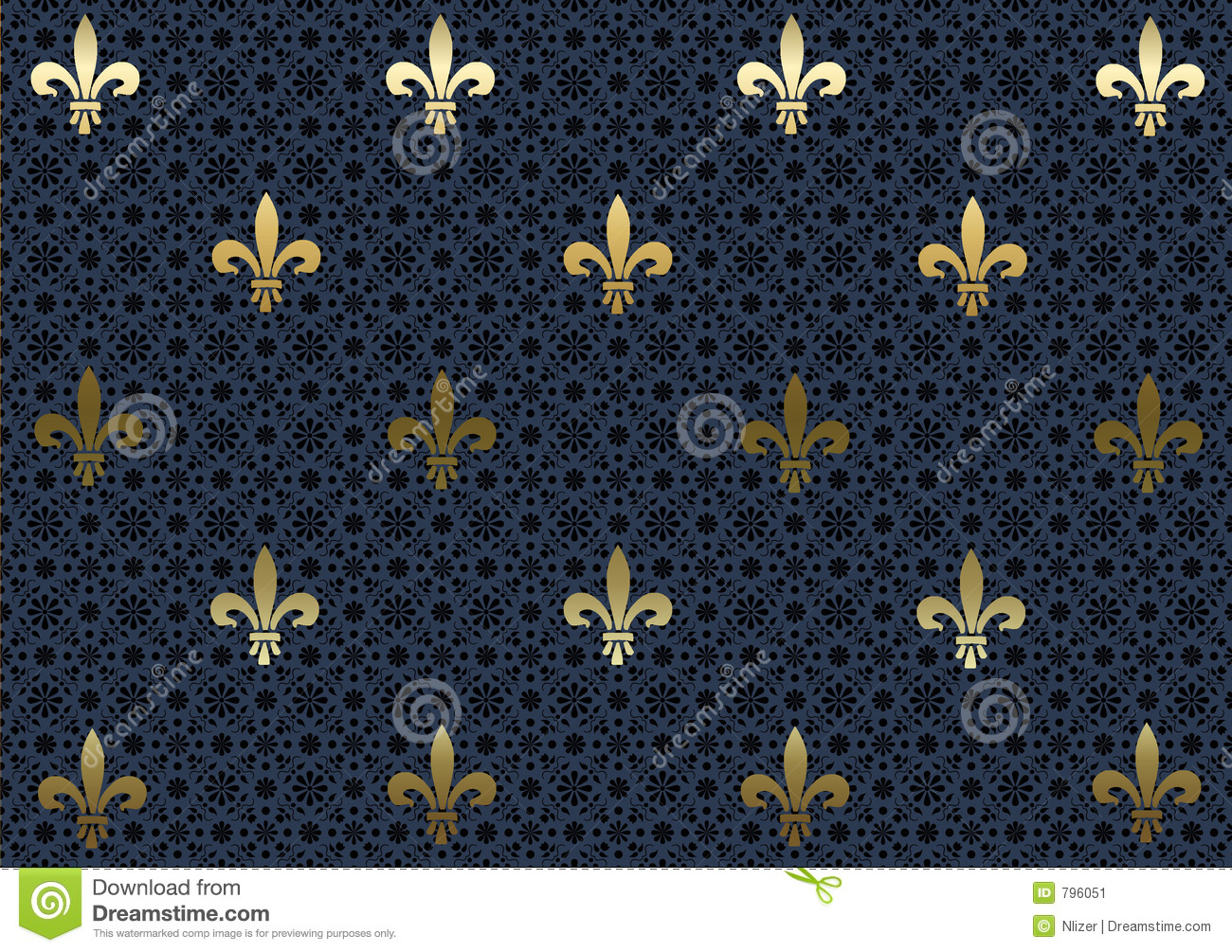 of metallic gold Fleur De Lis on a patterned navy blue and black ...