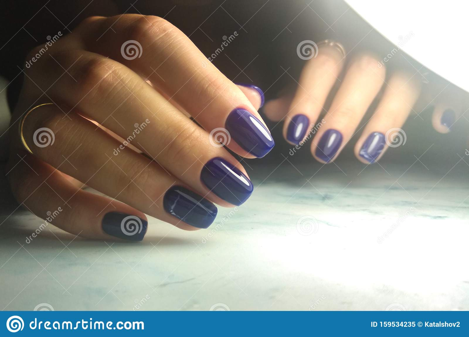 Dark Blue Gel Lacquer With Marble Design Stock Image Image Of Geometric Finger 159534235
