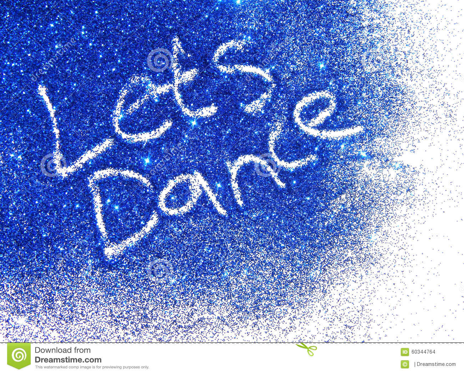dark blue glitter sparkle with words let s dance on white background