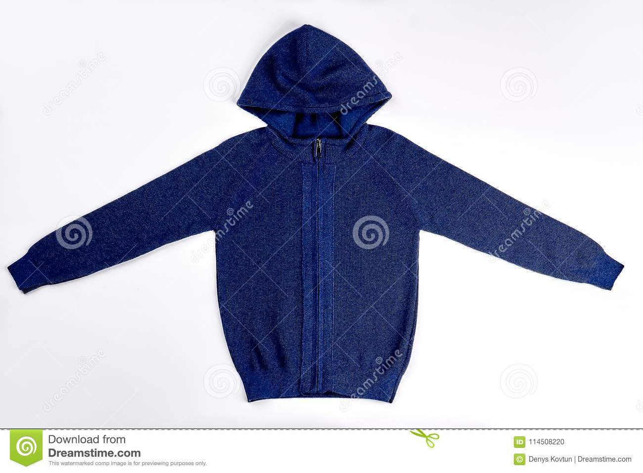 94fdda2d45 Dark Blue Hooded Knitted Pullover. Stock Photo - Image of hoodie ...
