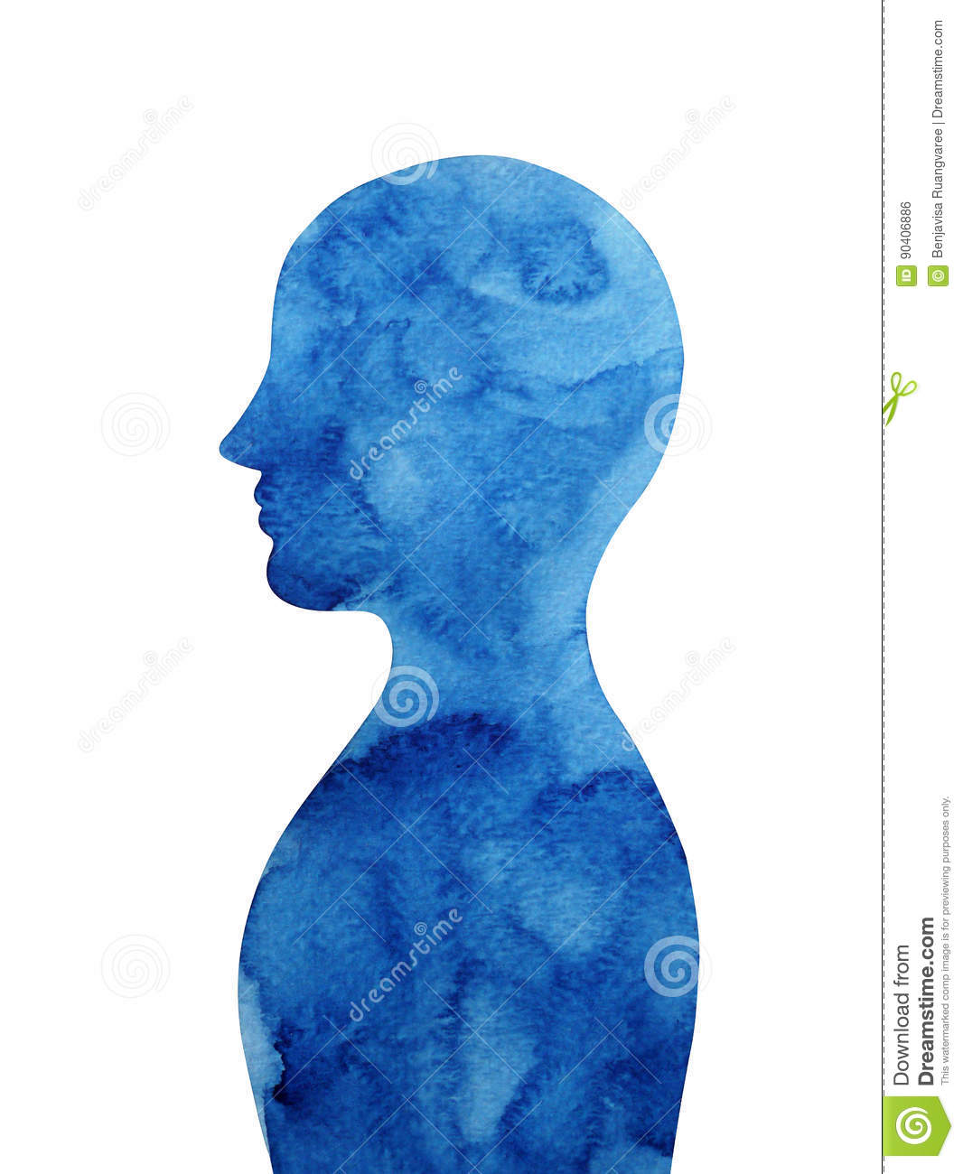 Dark blue human head thought mind, abstract watercolor painting