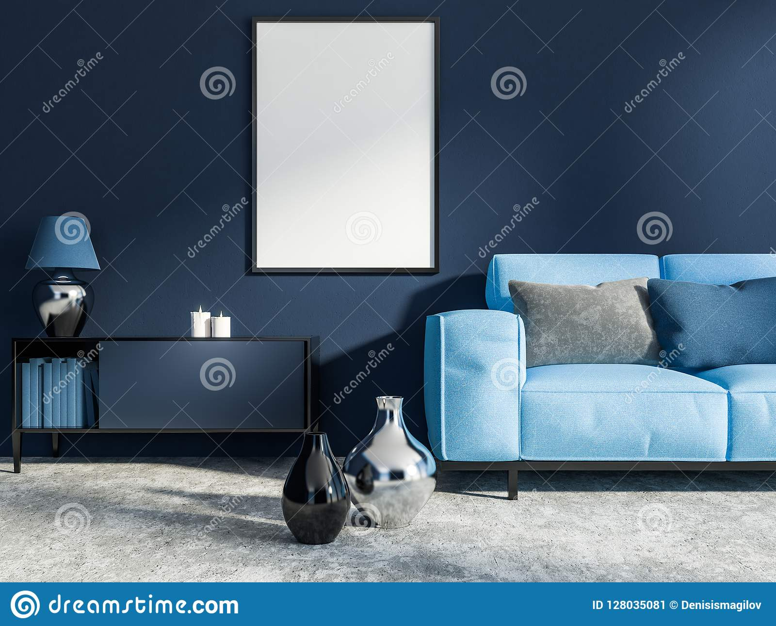Dark Blue Living Room Blue Sofa Poster Stock Illustration Illustration Of Cozy Estate 128035081