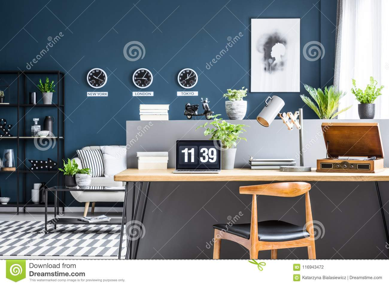 Dark Blue Interior With Workspace Stock Photo - Image of apartment ...