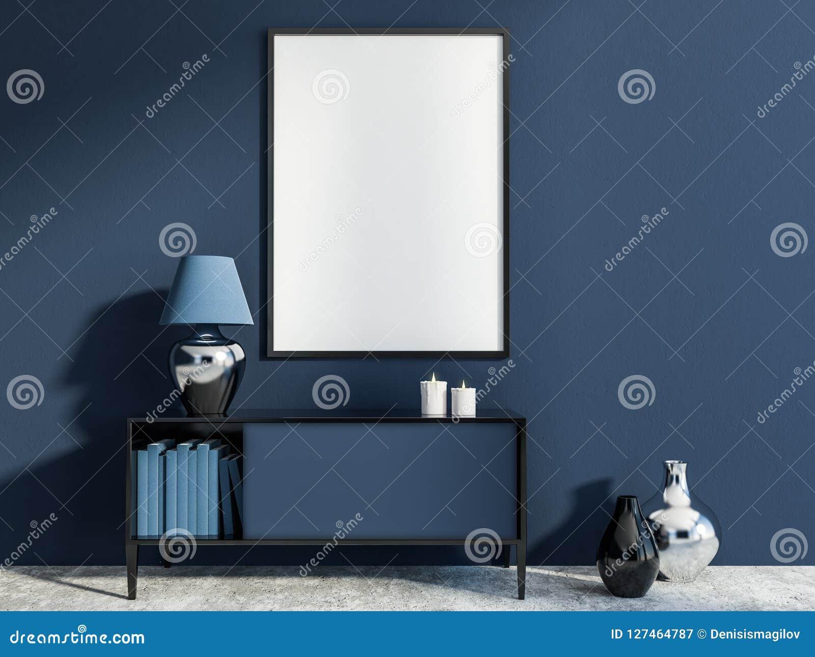 Dark Blue Living Room Set Of Drawers Poster Stock