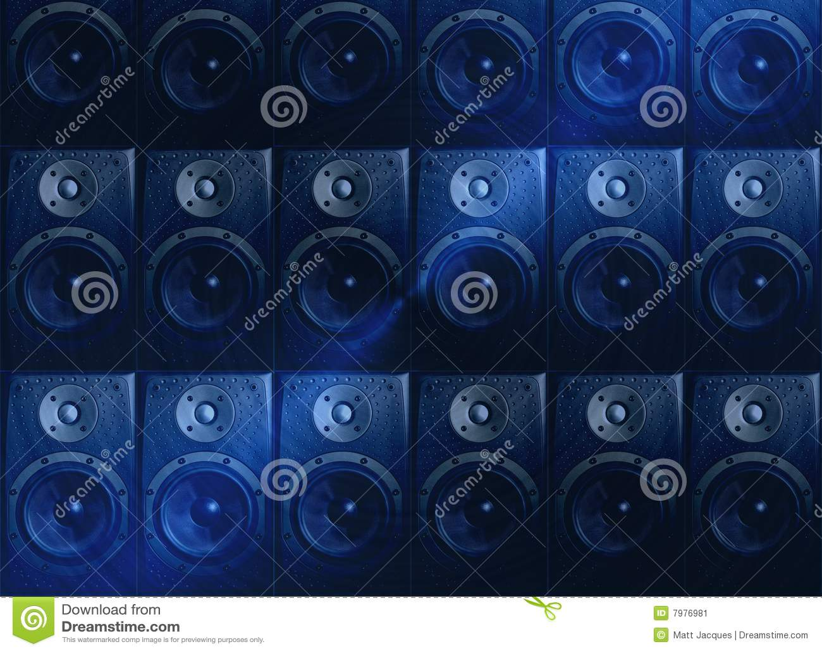 Dark Blue Music Speaker Abstract Wallpaper Stock Image