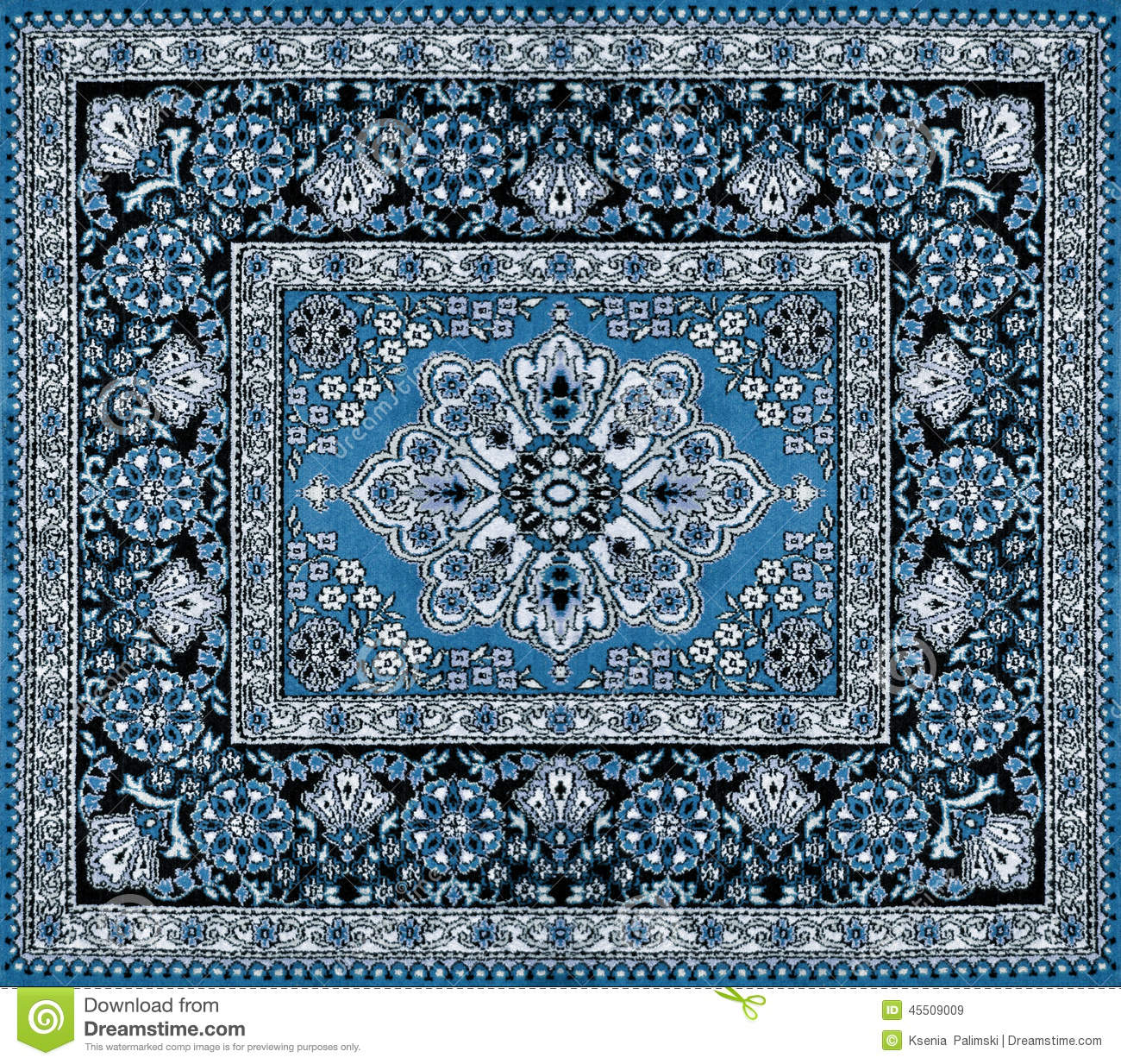 Dark Blue Persian Carpet Stock Image Image Of Home