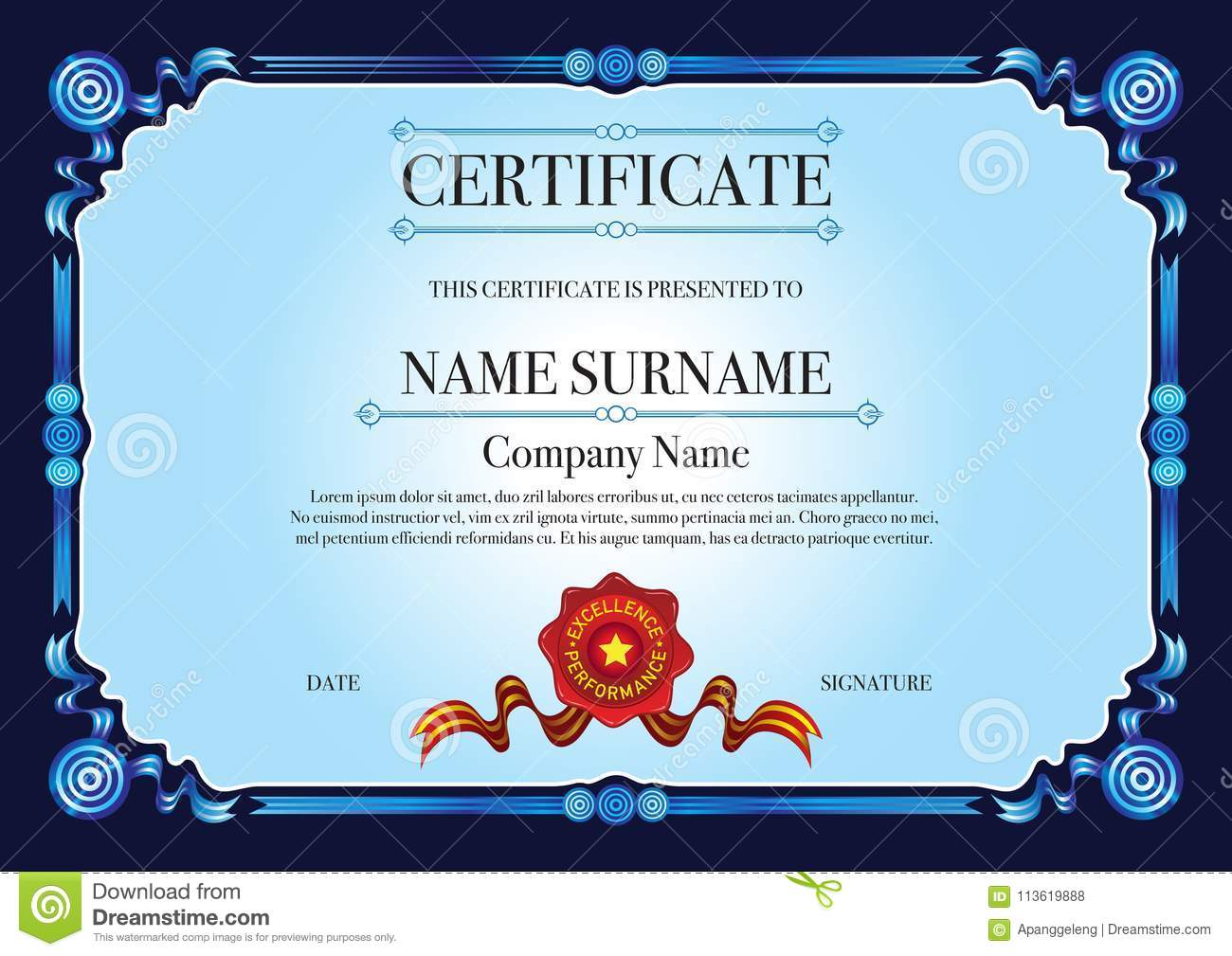 Dark Blue Ribbon Style Border For Certificate With Red Stamp Stock
