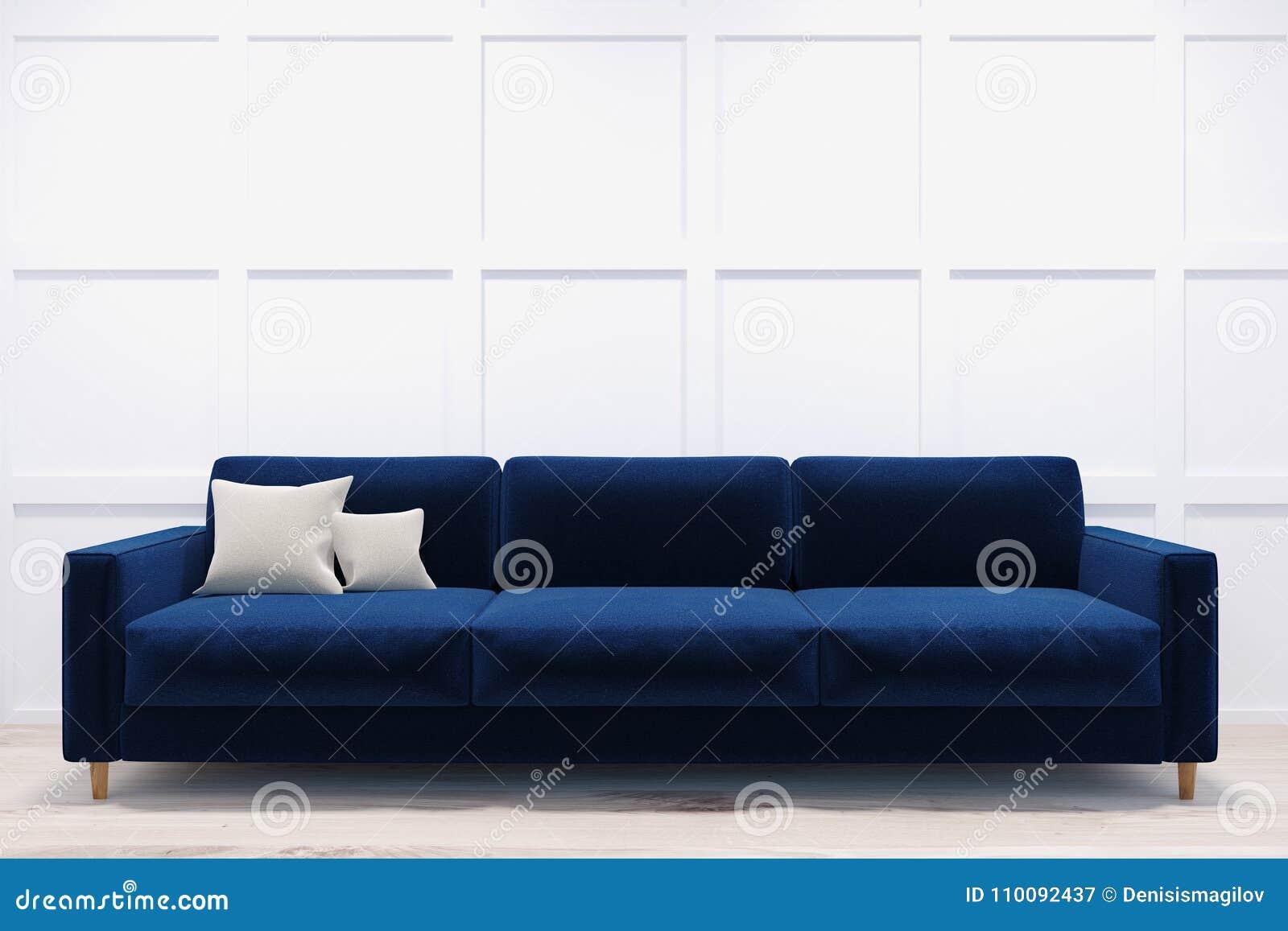 Picture of: Dark Blue Sofa In A White Room Stock Illustration Illustration Of Corridor Elegance 110092437