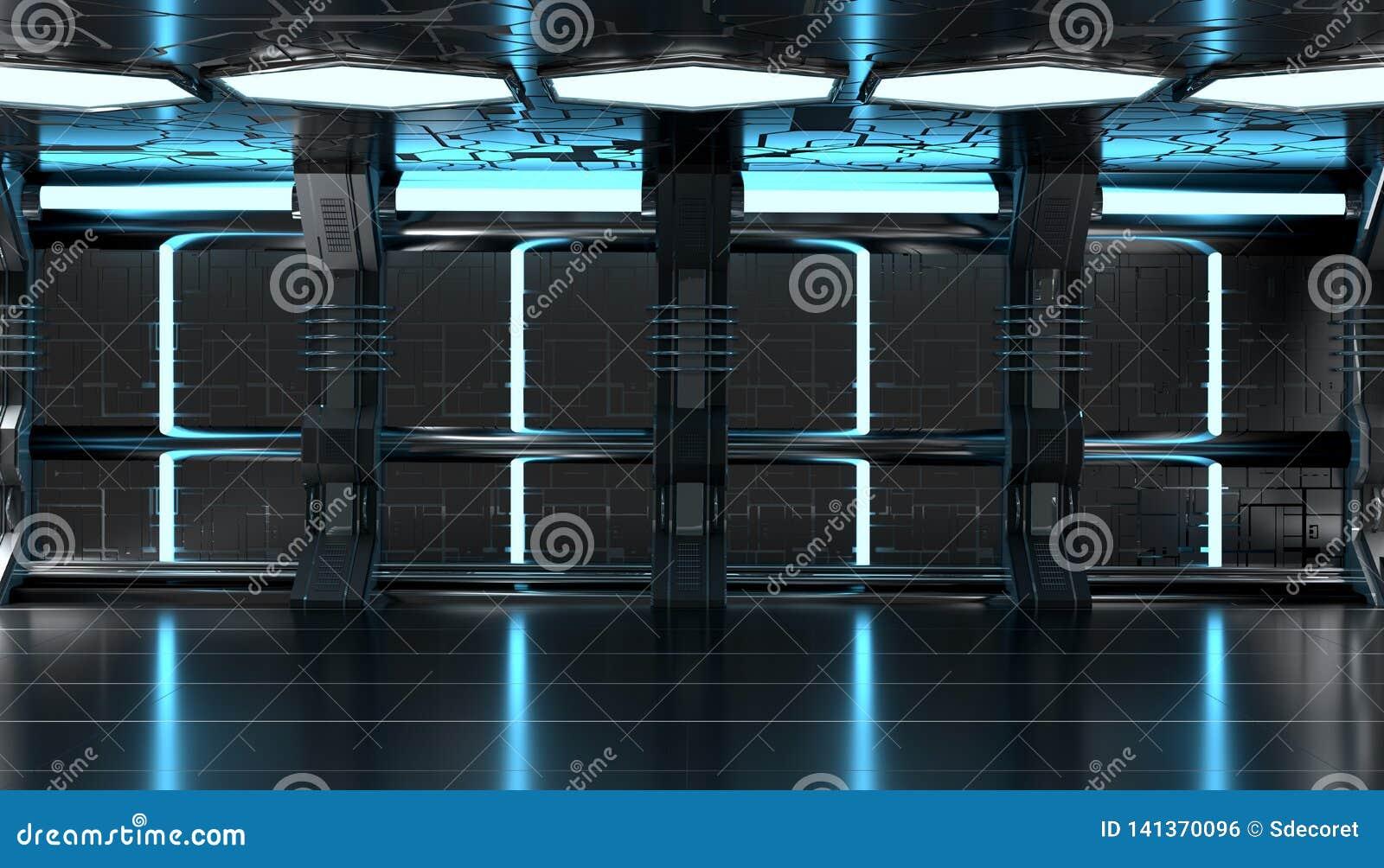 Dark Blue Spaceship Futuristic Interior With Tech Wall ...