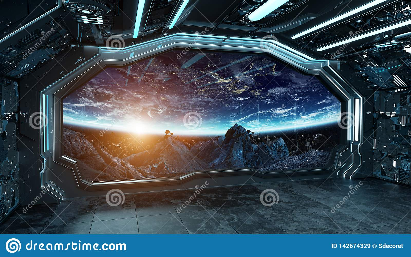 Dark blue spaceship futuristic interior with window view on space and planets 3d rendering
