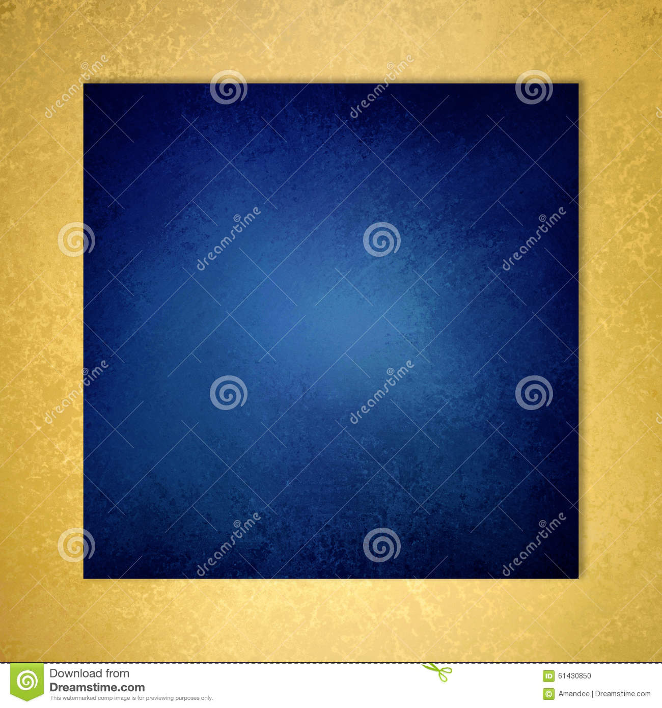 Dark Blue Square Background With Gold Textured Border