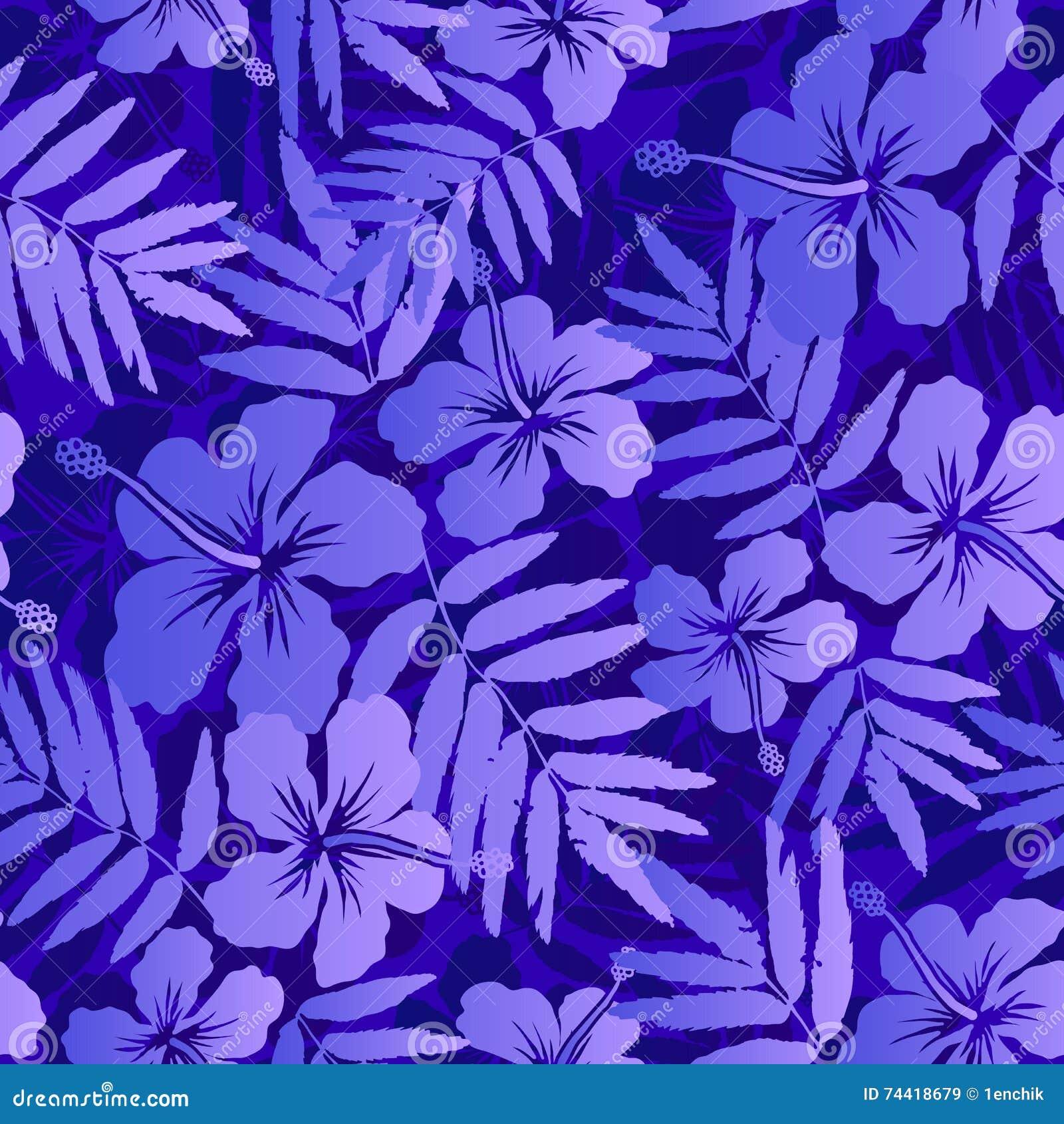 Dark Blue Tropical Flowers Seamless Pattern Stock Vector