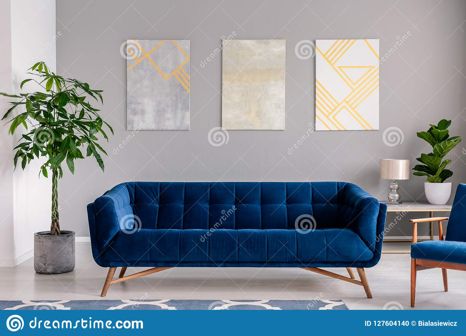 Fantastic A Dark Blue Velvet Couch In Front Of A Gray Wall With Bralicious Painted Fabric Chair Ideas Braliciousco