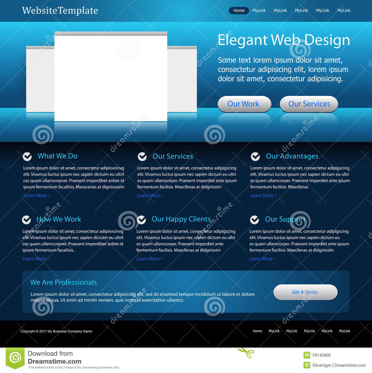 Dark Blue Website Design Template Royalty Free Stock Image - Image ...
