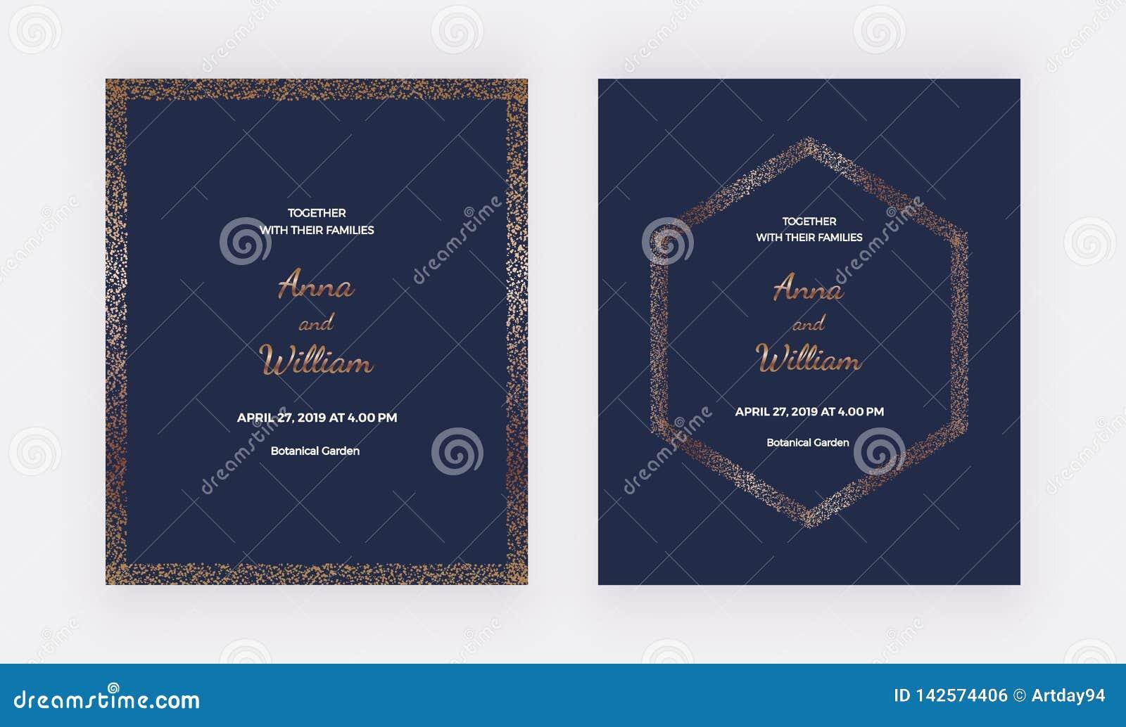 Dark Blue Wedding Invitation Cards With Gold Confetti