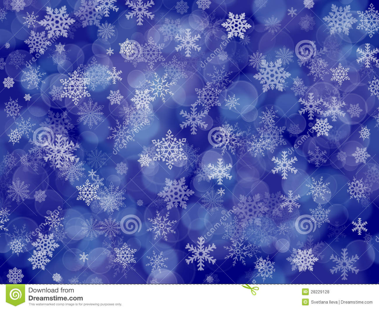 dark blue winter background with snowflakes and boke stock illustration