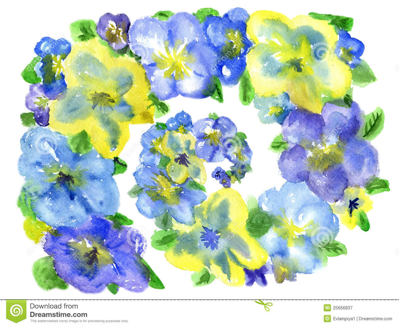 Dark Blue And Yellow Flowers Stock Illustration Illustration Of
