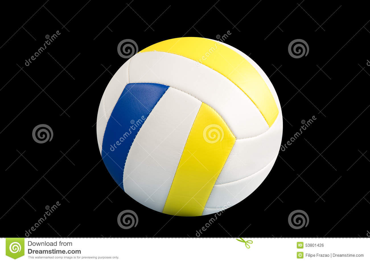 dark blue yellow volleyball ball on a black background