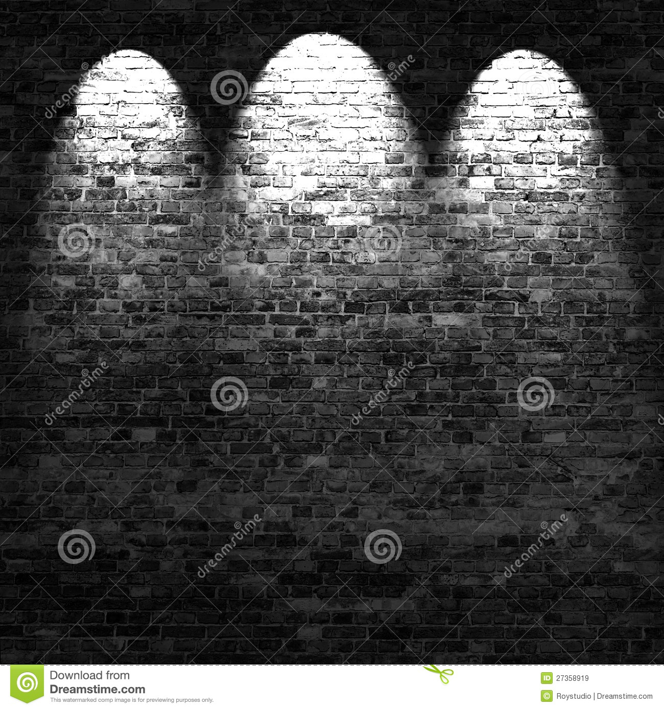 Dark Brick Wall Background In Basement With Beams Of Light
