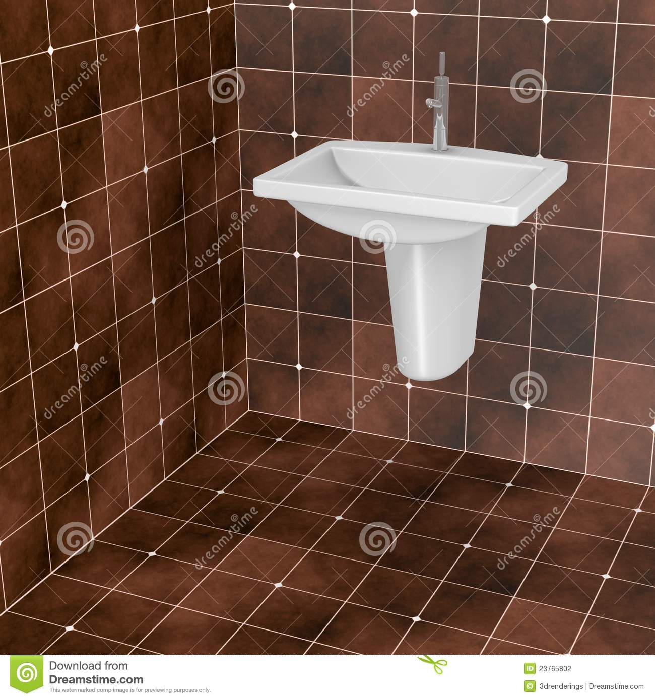 Fliesen Bad Braun: Dark Brown Bathroom Tiles Stock Illustration. Image Of