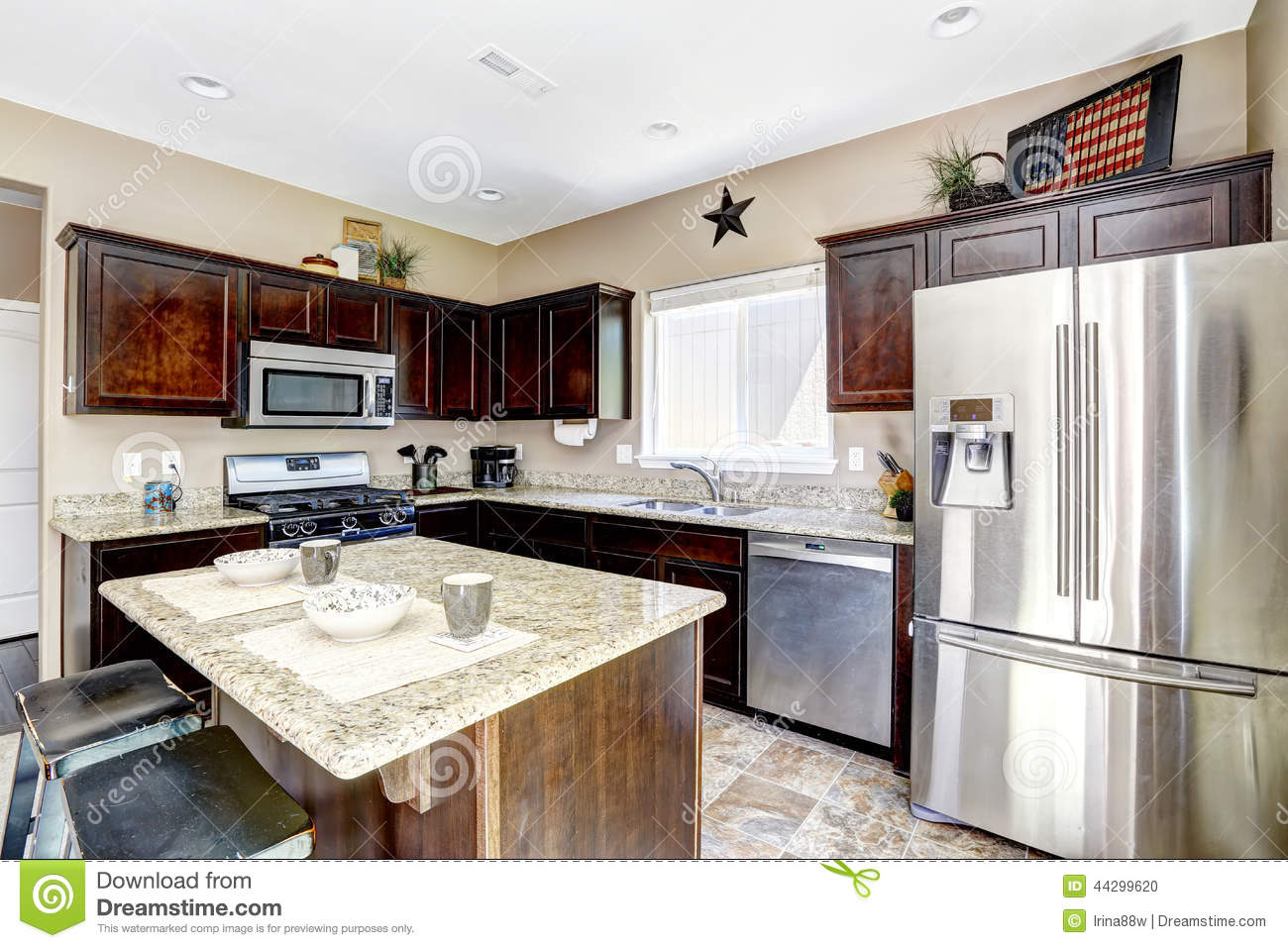 Dark Brown Cabinets With Granite Tops Kitchen Room Interior Stock