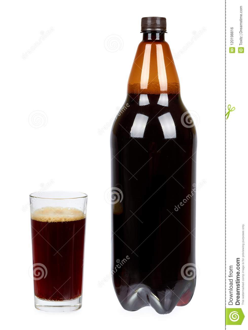 Dark brown plastic bottle of beer or kvass with glass cup isolated on a white background.
