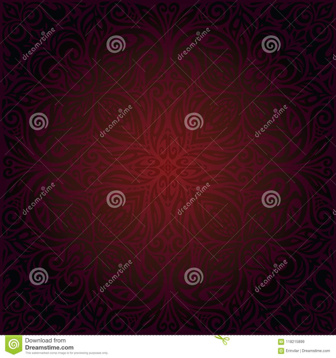 Dark Brown Red Mandala Wallpaper Vector Design Background In Trendy