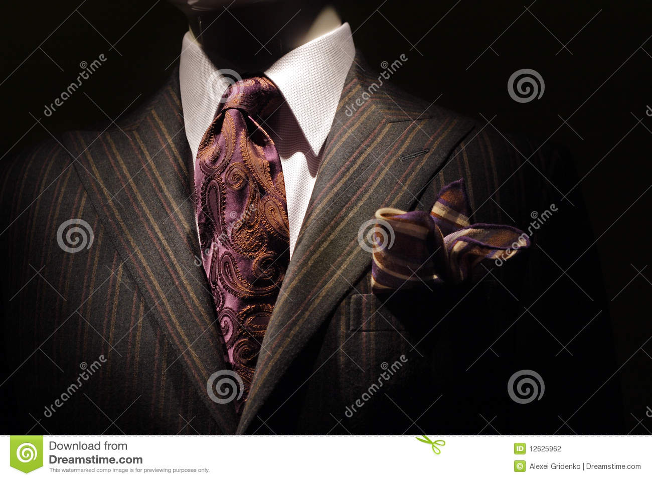 Dark Brown Striped Jacket, Purple Tie And Handkerc Stock ...