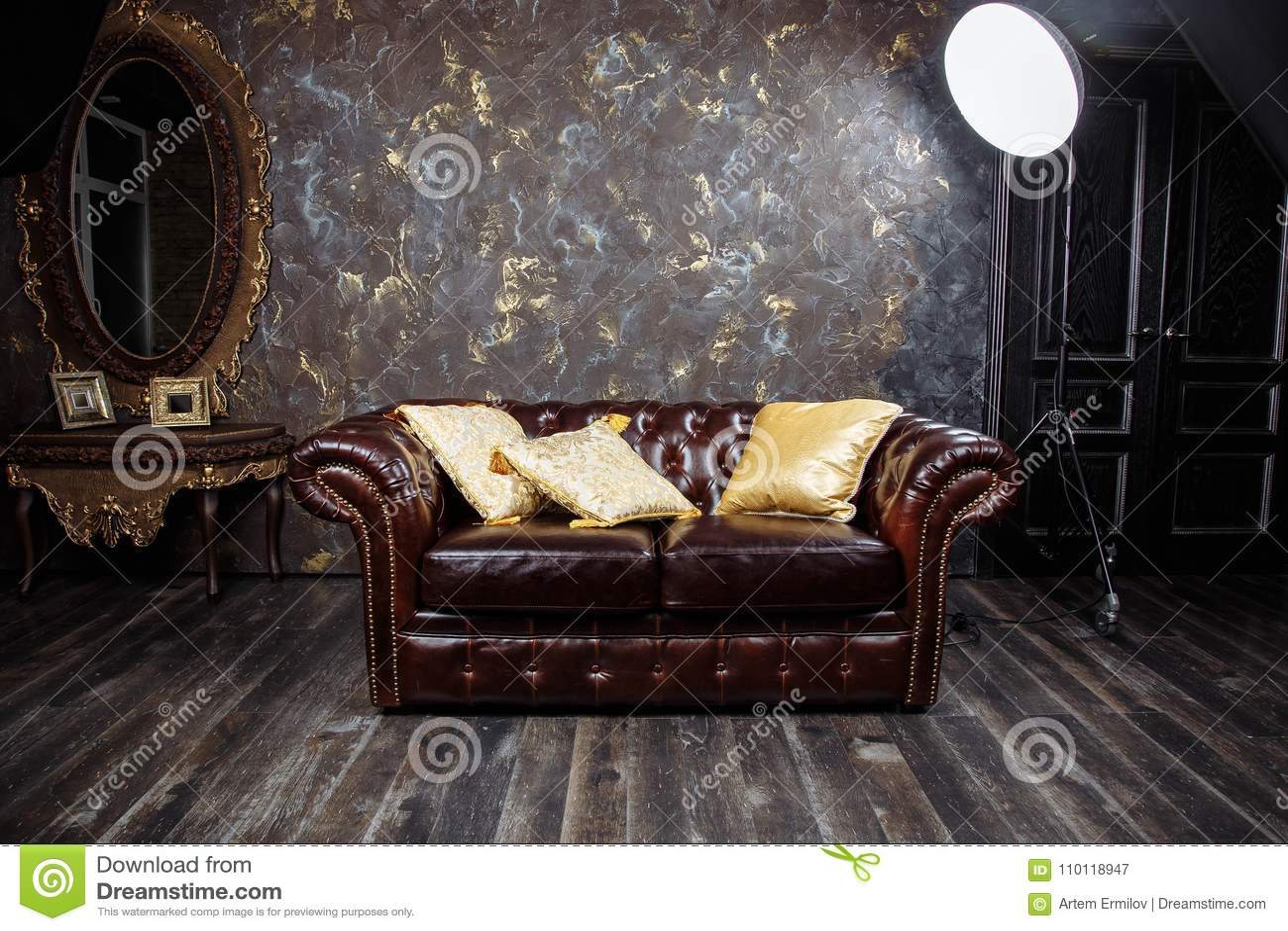 Dark Brown Vintage Beautiful Luxurious Sofa Interior With ...