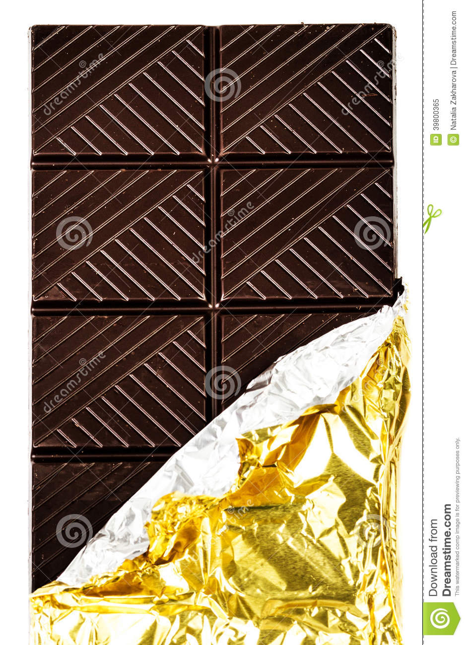 Dark Chocolate Bar In Opened Golden Foil Wrapping Stock Photo ...