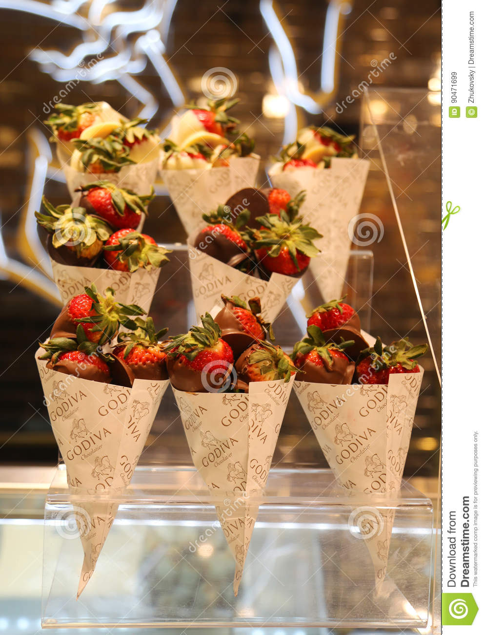 Dark Chocolate Dipped Strawberries By Godiva Editorial Stock Image ...