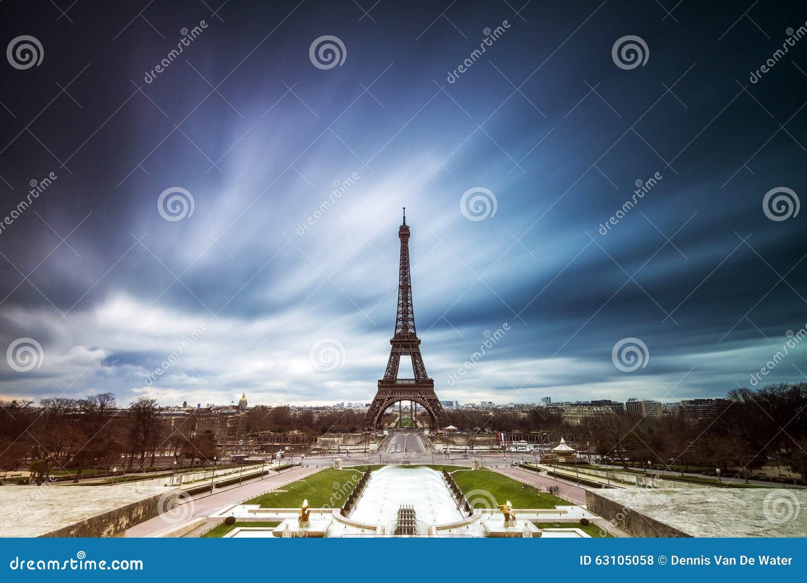 Dark clouds Eiffel tower