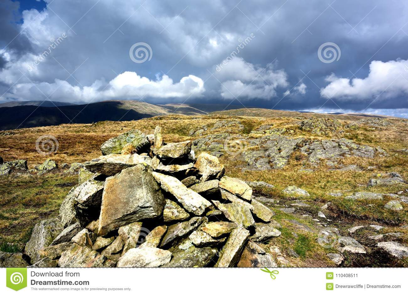 Cairn on Grey Crag stock image  Image of knott, marker
