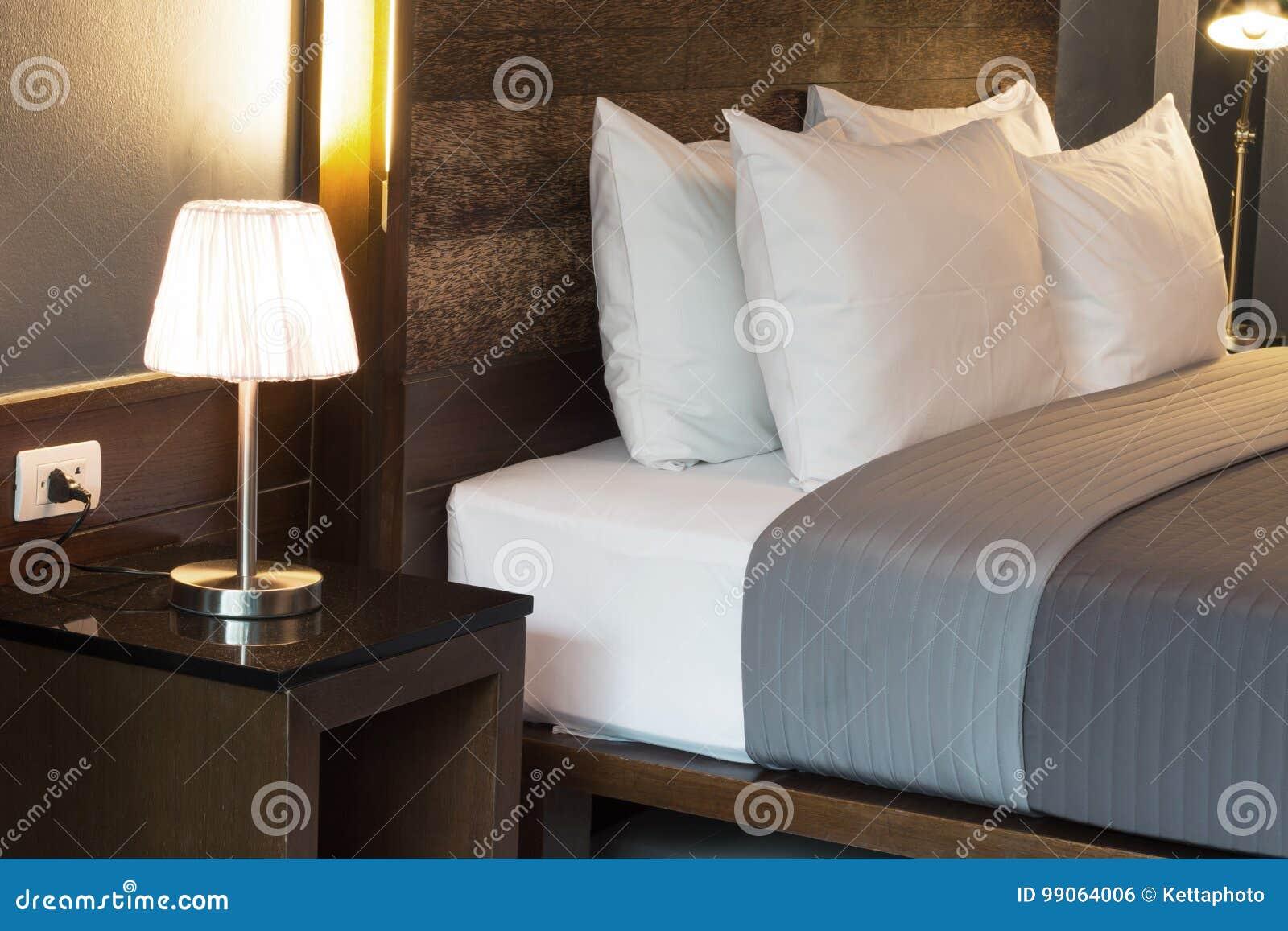 Dark color bedroom stock photo. Image of cotton, lamp - 99064006