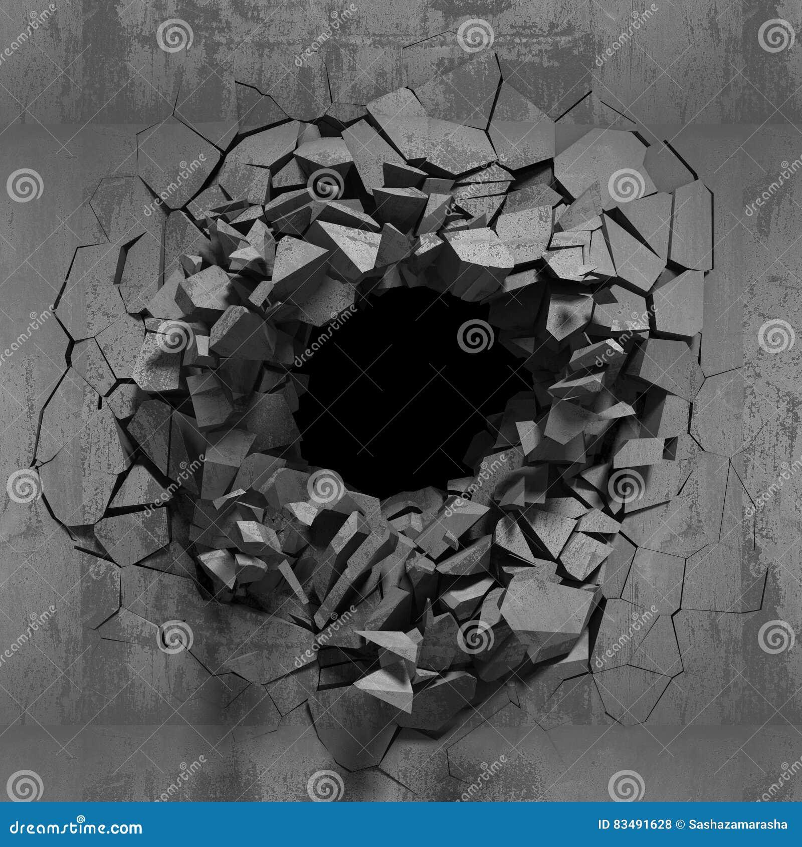 Royalty Free Stock Photo  Download Dark Cracked Broken Wall In Concrete. Dark Cracked Broken Wall In Concrete Wall  Grunge Background Stock