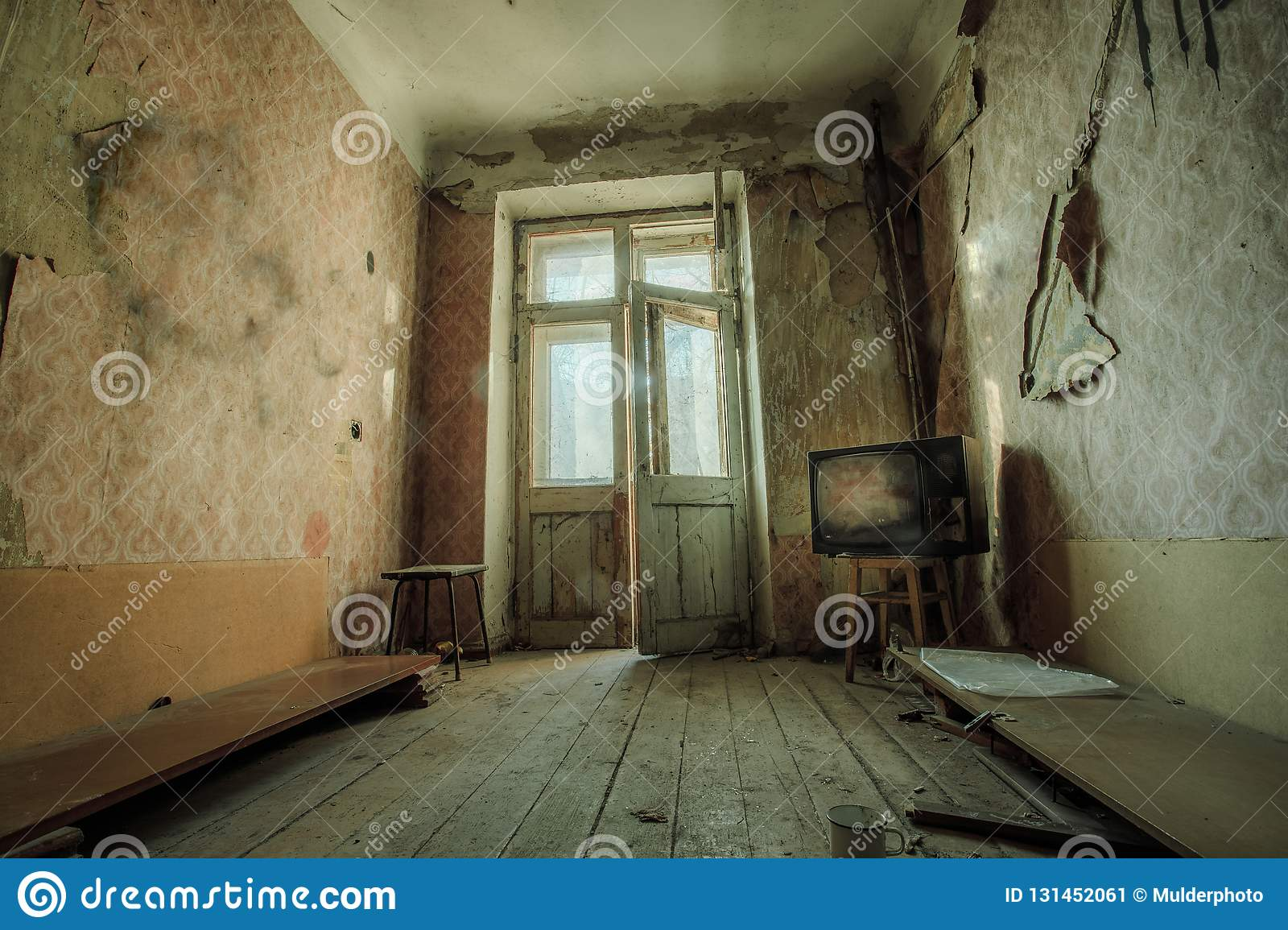 Groovy Dark Creepy Messy Room With Broken Tv Set In Abandoned House Download Free Architecture Designs Scobabritishbridgeorg